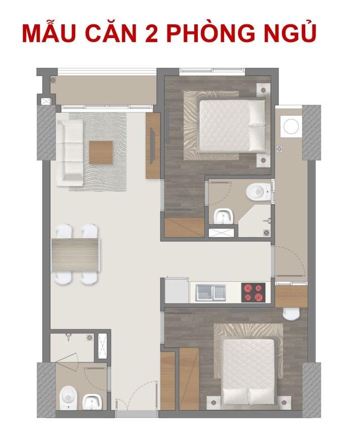 Mặt bằng căn hộ 2PN Richmond City