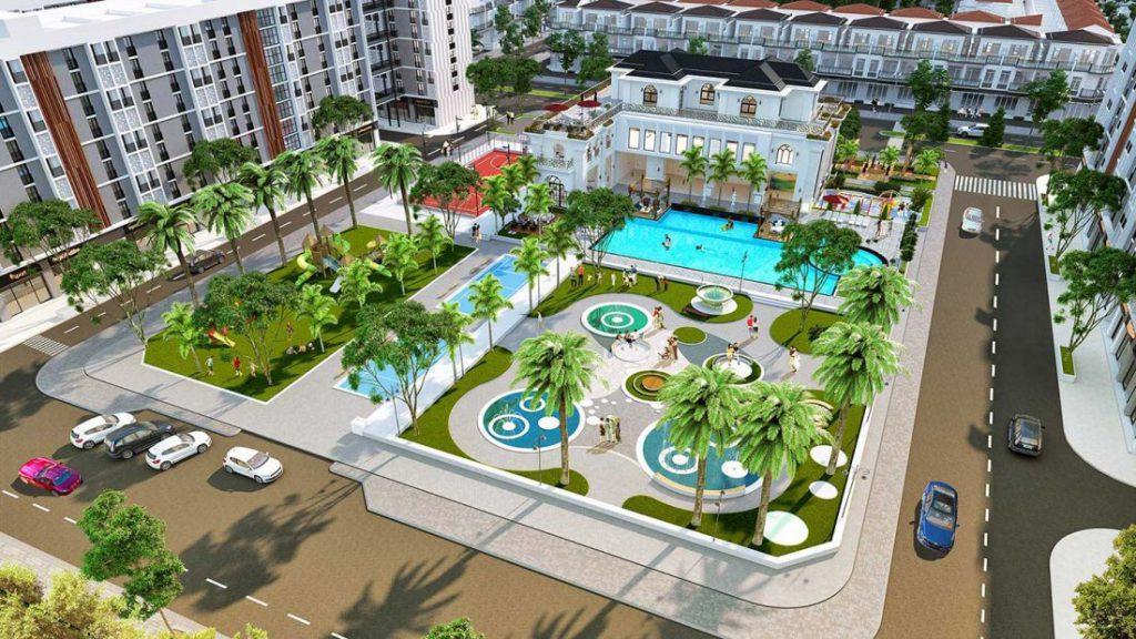 Phối cảnh hồ bơi trong dự án Phúc An City